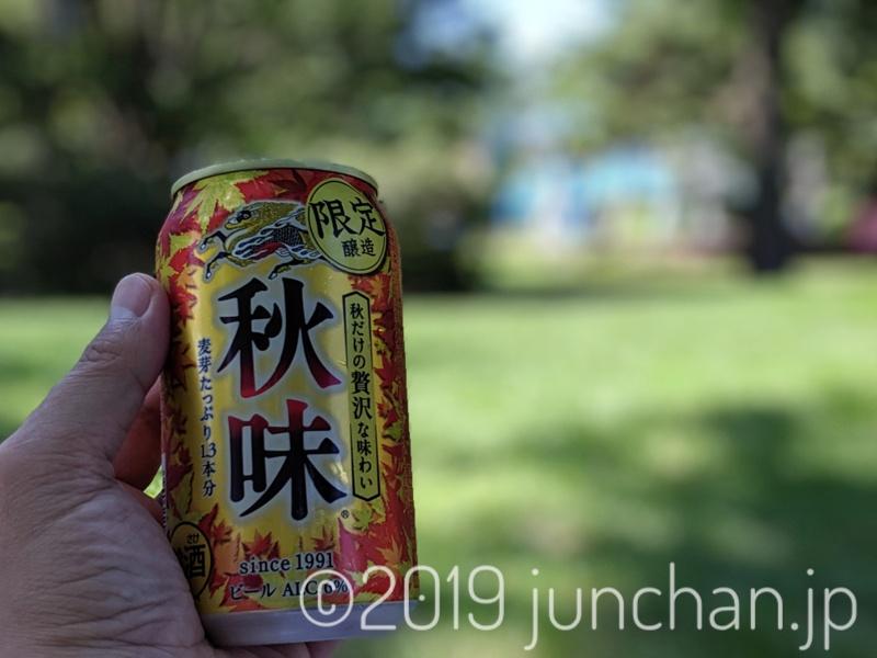 公園で飲むキリン秋味が辛い