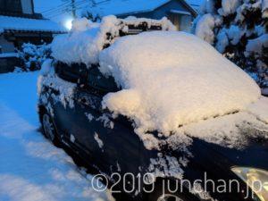 車の上にも雪が積もっている