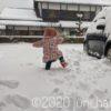雪の中を出動する娘氏