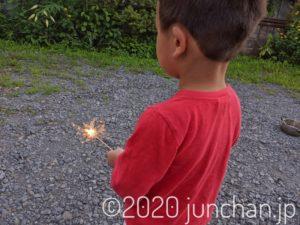 花火を手に静止する息子