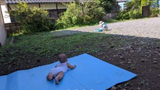 庭で遊ぶ娘たち