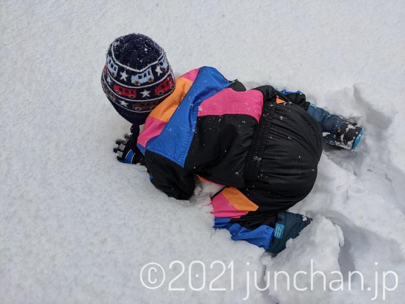 雪を全身で感じようとする息子