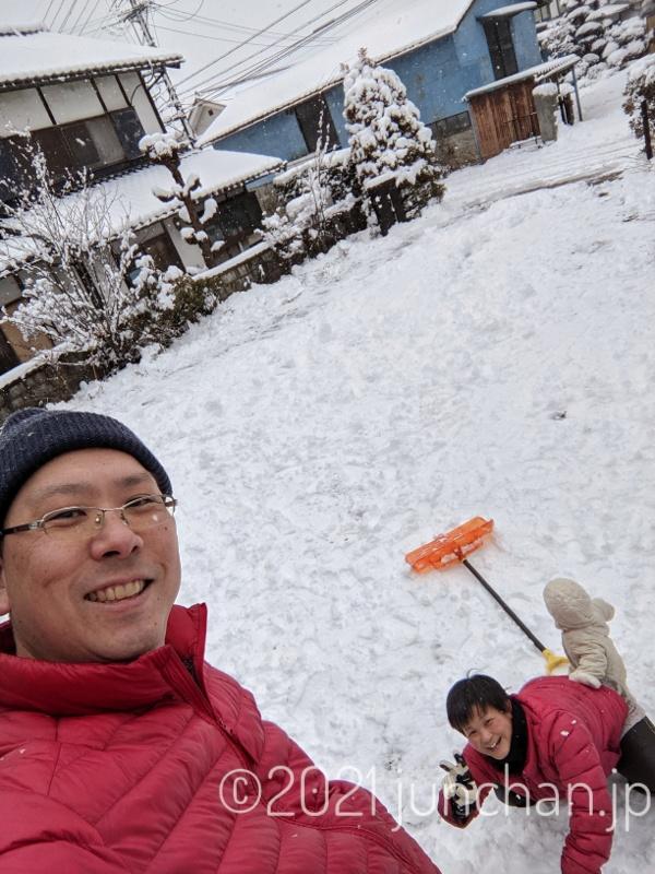 雪山に登って自撮り