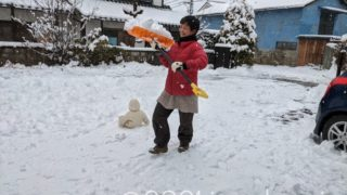 雪を運んでくる奥さん