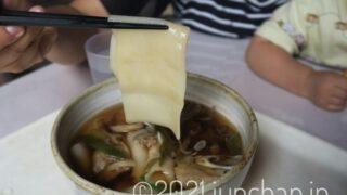 ひもかわうどんの平たい麺